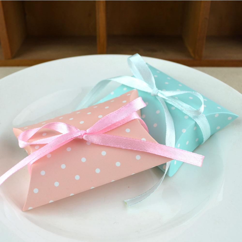 100pcs New European Pillow shape Polka Dots Candy Boxes + Ribbons ...