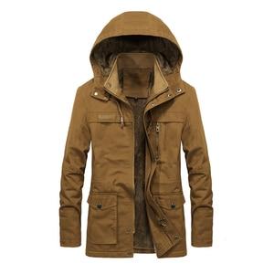 Image 3 - Artı kadife erkekler kış ceket 4XL 5XL Parka polar kürk kapşonlu askeri ceket ceket cepler rüzgarlık ceket erkekler