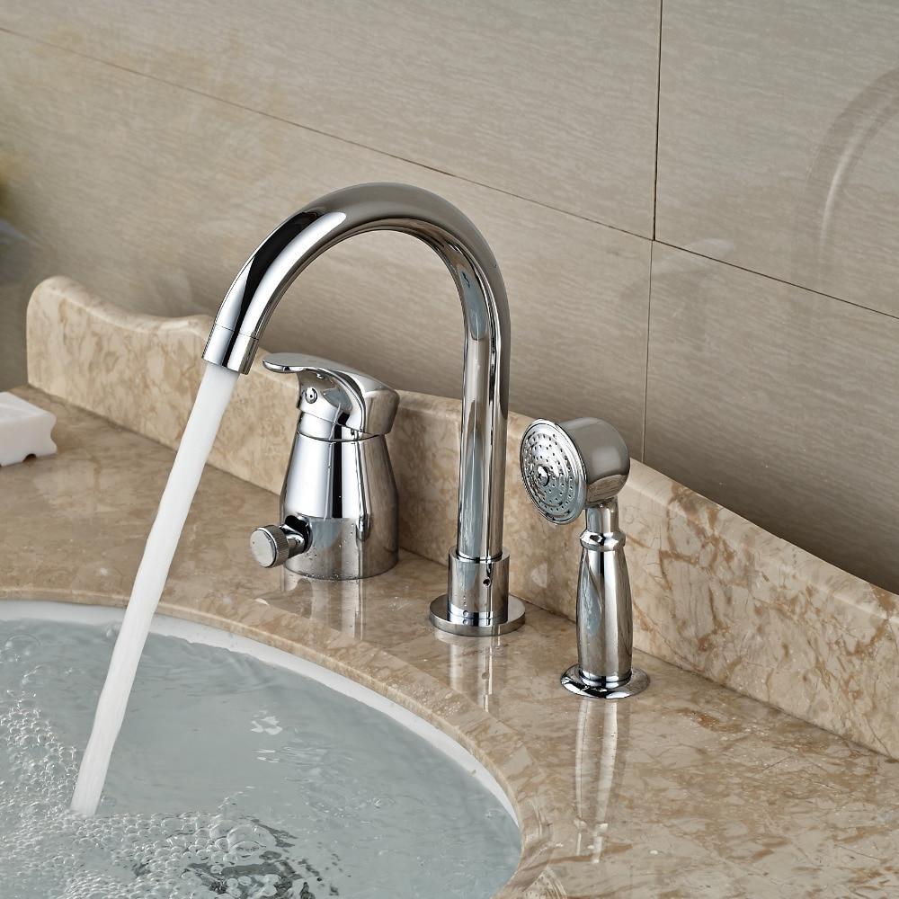 Chrome Finish Brass Bathtub Sink Faucet Deck Mount Bath Shower Mixer ...
