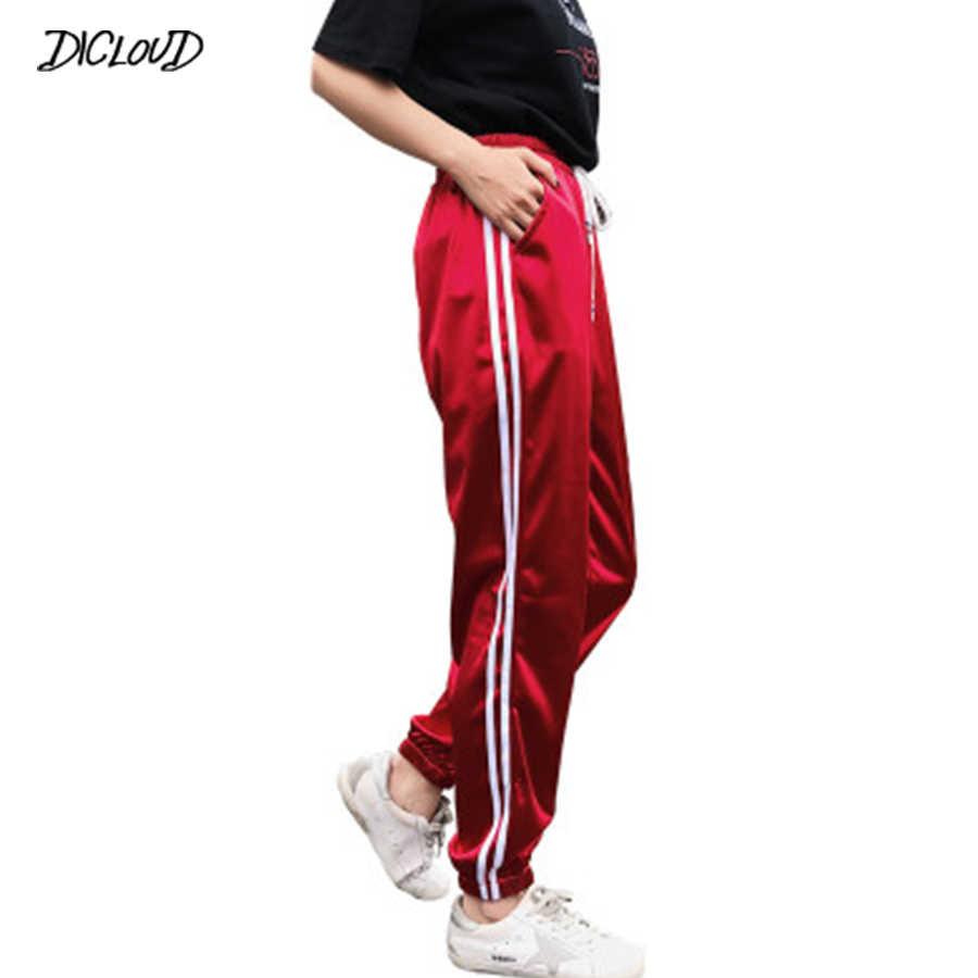 Pantalones Informales A Rayas Laterales De Saten De Otono 2018 Pantalones Holgados De Cintura Alta De Harajuku Para Mujer Pantalones Harem Negros Elasticos Para Mujer Pantalones Y Pantalones Capri Aliexpress