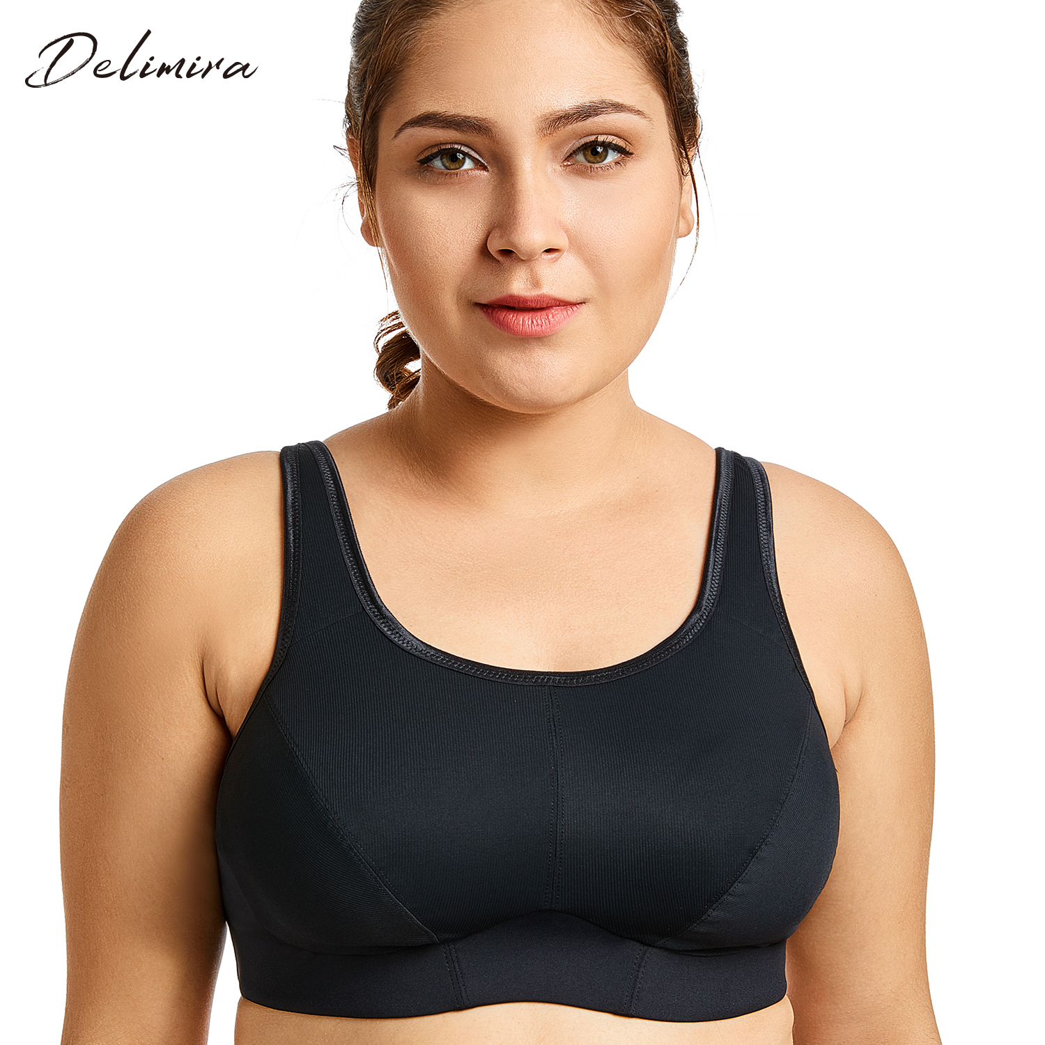7d9f1e112b Women s Wirefree No Padding Full Support Minimizer Plus Size Exercise Bra
