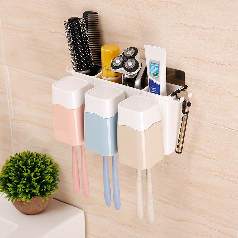 Creative wall-mounted toothbrush holder + storage box +3 rinse cups bathroom accessories sucker toothbrush holder convenient sucker five place abs white toothbrush holder