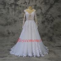 new design cotton lace Vestido de Noiva long sleeve popular wedding dress Sexy Back wedding gown custom made factory directly