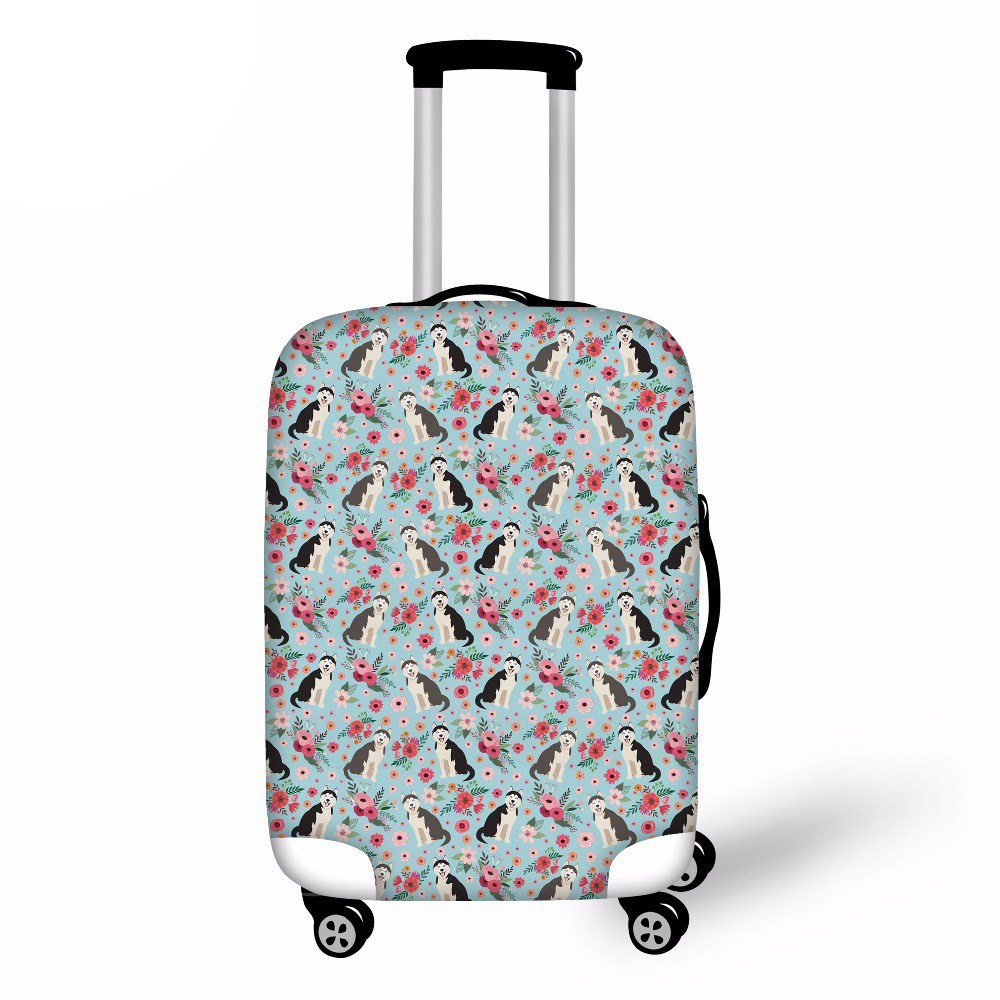 Noisydesigns Dog Flower Thicker Suitcase Protective Cover Travel Accessories Elastic Luggage Dust Cover For 18''-30'' Suitcase