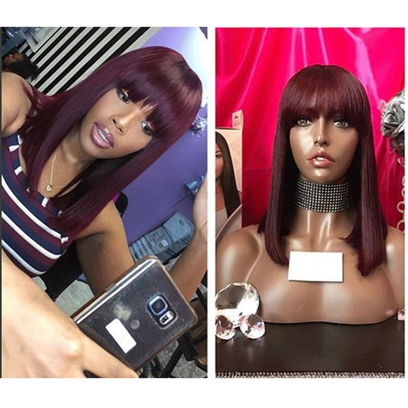 Ombre Red 99J Bob Wigs With Bangs 13x6 Lace Front Human Hair Wigs Indian Remy Hair Straight Full For Women With Bang Black Hair-in Lace Front Wigs from Hair Extensions & Wigs