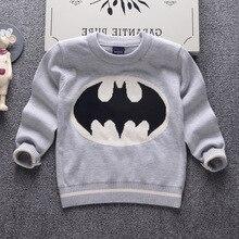 2016 automne vêtements de mode de marque enfants garçon chandail épais double couche 100% coton de haute qualité Batman bande dessinée hauts en tricot