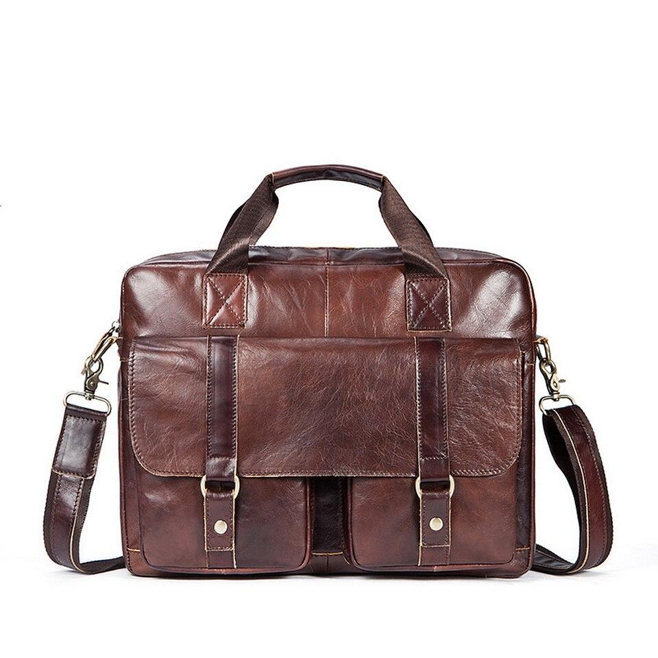 Business Vintage Men's Genuine leather Briefcases  portfolio bags Men executive briefcase leather laptop bag For Document цена и фото