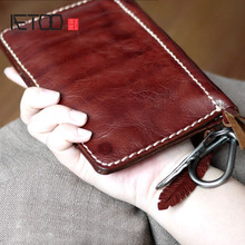 AETOO Handmade vintage leather cowhide unisex wallet /