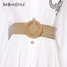 TWOTWINSTYLE Summer Vintage Wide Belt For Women High Waist S