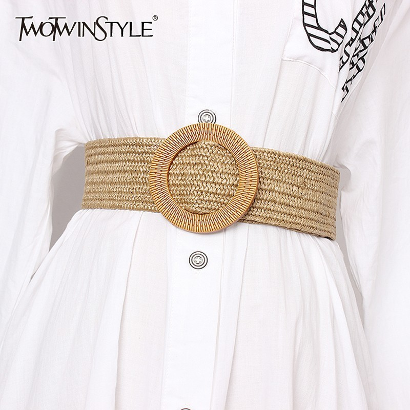 TWOTWINSTYLE Summer Vintage Wide Belt For Women High Waist Striped Belts Female Dresses Accessories 2020 Fashion New