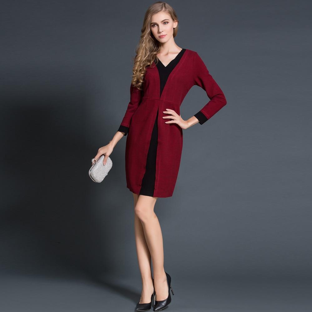2016 Hiver Grande Mode Glissière Dos Taille Longues Patchwork Green Au Col V Tricoté Féminine Europe Robes À Robe Coton wine Femmes Red Manches 8nwOkNPX0Z