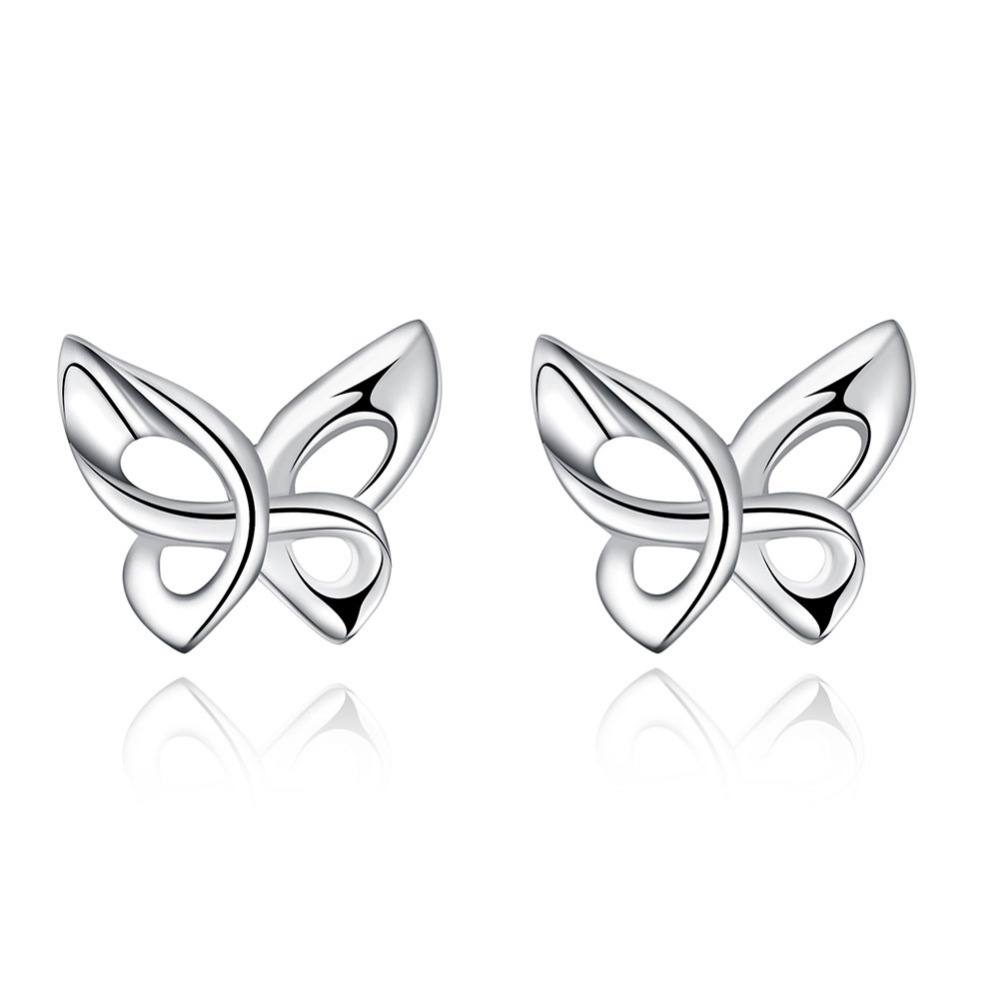Cute Small Silver Color Smooth Butterfly Stud Earrings For Women Children Girls Kids Jewellery Orecchini Aros Aretes