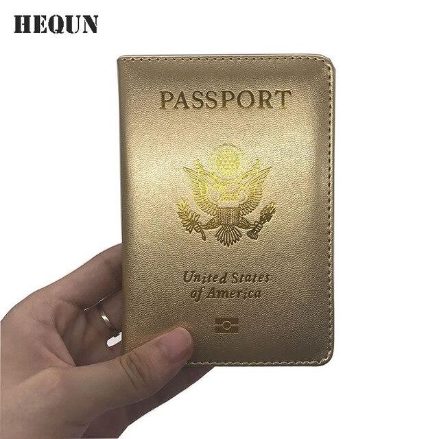 HEUQN New Soft Pu Leather USA Passport Cover Pink Women American Passport...