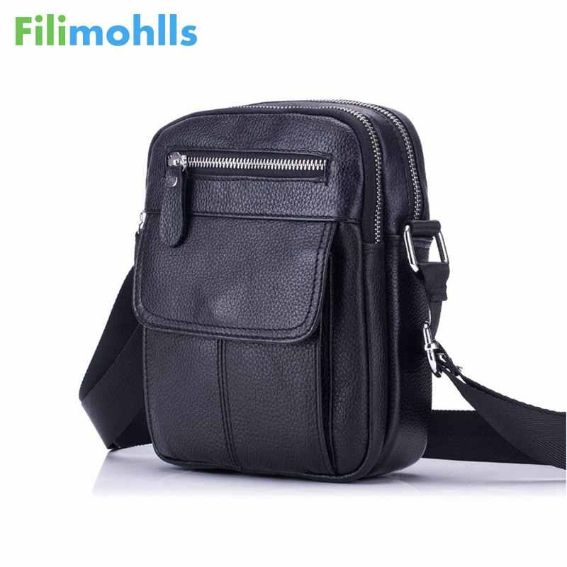 2019 Genuine Leather Bag Men Messenger Bags Men's Crossbody Bag Small sacoche homme Satchel Man Satchels Shoulder Bags S1175