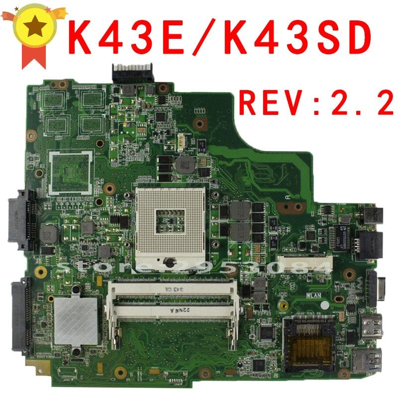 For ASUS K43E Laptop motherboard K43SD REV 2 2 100 tested