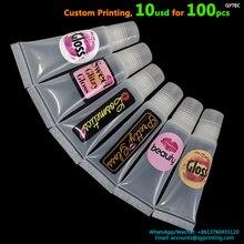 Personalizado 35x35mm Transparente Vinil Branco de Papel Kraft Cosméticos Lip Gloss Privada Cílios Adesivo de Impressão de Etiquetas de Embalagens Artesanais