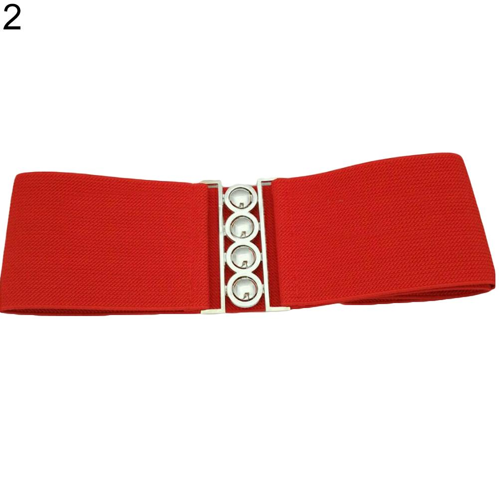Women Fashion Cinch Buckle Wide Stretch Elastic Waist Belt Corset Waistband