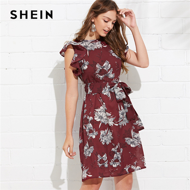 2b7aac12bf88 SHEIN Multicolor Vacation Bohemian Beach Flutter Sleeve Self Belted Floral Round  Neck Natural Waist Dress Summer Casual Dresses