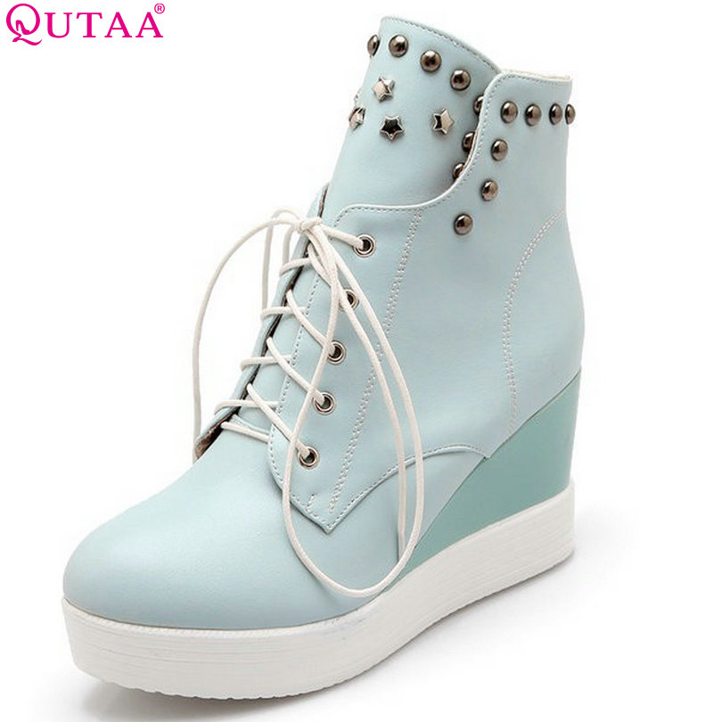 купить QUTAA Fashion Sexy Platform High Heel Heels Women Boots Lace Up Rivet Women Ankle Boots Size 34-42 по цене 2135.12 рублей