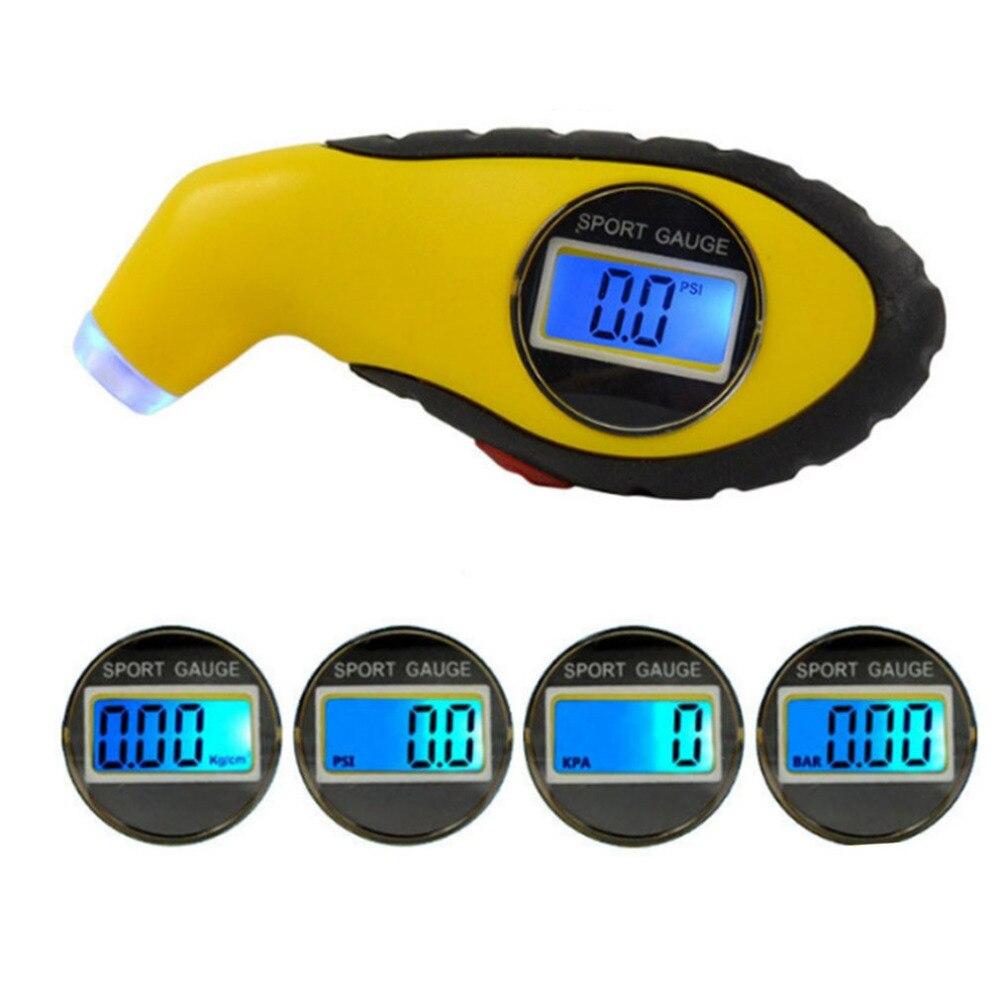 Alta precisión electrónica Digital rueda calibrador de presión portátil manómetro neumático de coche accesorios del coche con LED azul