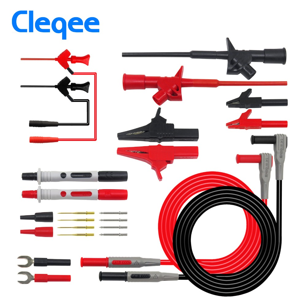 Cleqee P1300D P1300E P1300F  Replaceable Multimeter Probe Test Hook&Test Lead kits 4mm Banana Plug Alligator Clip Test stickCleqee P1300D P1300E P1300F  Replaceable Multimeter Probe Test Hook&Test Lead kits 4mm Banana Plug Alligator Clip Test stick