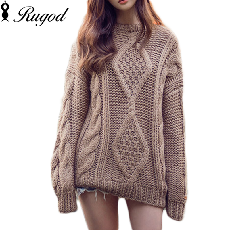 Twisted Loose Knitted Pullovers Oversized Sweaters Womens Thicken Casual Long-sleeved Knit Sweater Christmas Pull femme