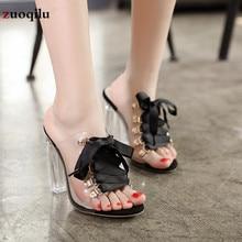 Прозрачные босоножки из ПВХ с открытым носком; летние женские босоножки на высоком каблуке; сандалии-гладиаторы на платформе; женские шлепанцы на каблуке
