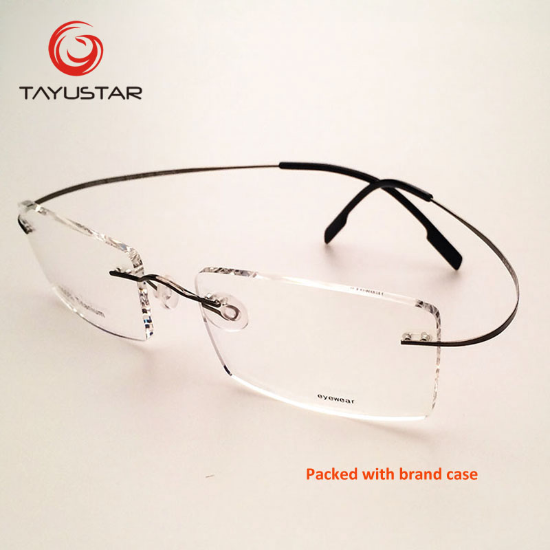 2018 TIIYUSTAR brand design rimless optical frame pure titanium with case Eyeglasses prescription glasses Customs Lens 8505