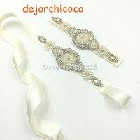 Bán lẻ!! crystal & pearls beading Chúa đảng headband với sash belt Wedding gái hairbands với vành đai bộ [dejorchicoco]