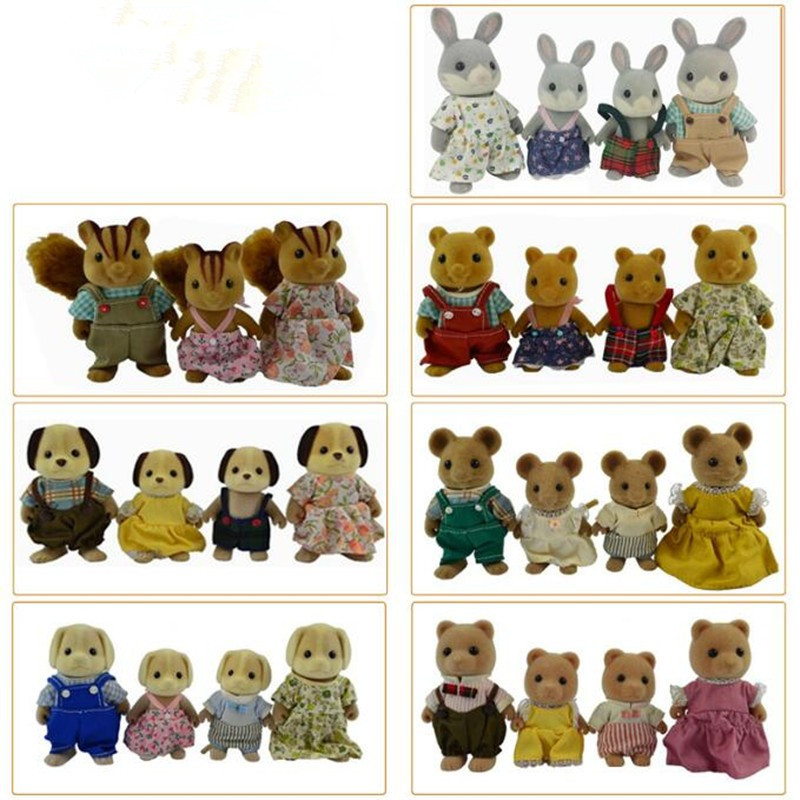 Limited Collection Sylvanian Families penguin rabbit mouse bear dog squirrel Family 4pcs Parents & Kids Set New without Box пинетки митенки blue penguin puku