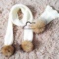 Bufandas de Punto de 0-8 años de edad Los Niños beanie Invierno de los cabritos Pompones De Piel Bufanda de La piel Real para Niños Navidad Niños niñas