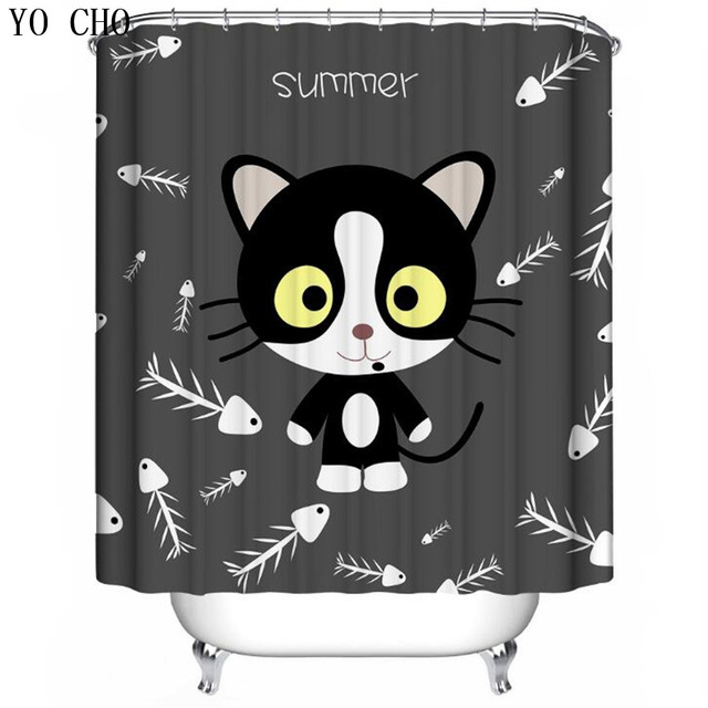 YO CHO 3D Cartoon Cat Shower Curtain Polyester Waterproof Pattern Bathroom Black 180cm