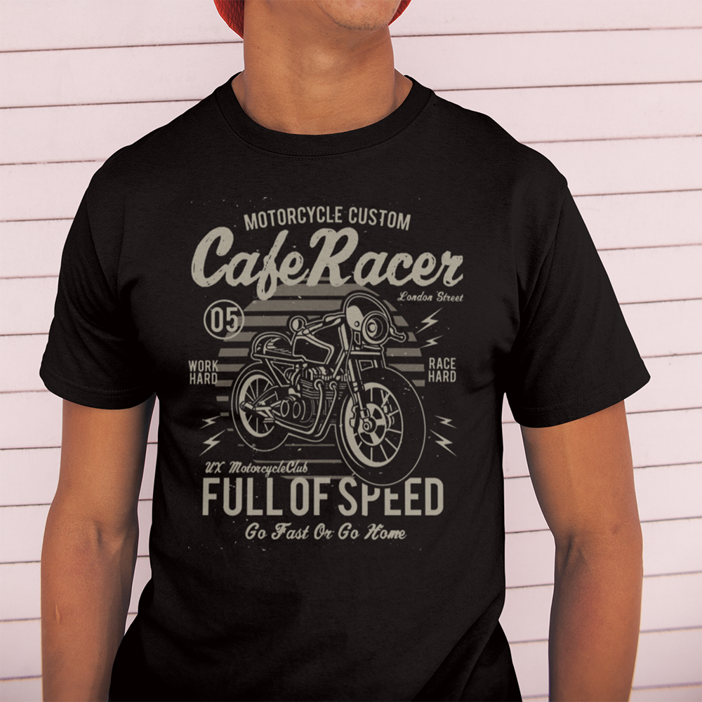 Cafe Racer Full of Speed Motorcycle Retro   T     Shirt   Vintage 100% Cotton Tees Round Neck Awesome Tops Men Short Sleeve   T  -  Shirt