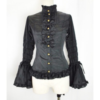 New Girls Ladies Pure Cotton Long Sleeve Gothic Lolita Blouse With Bow knots Women Sweet Shirt Cosplay Costume L27