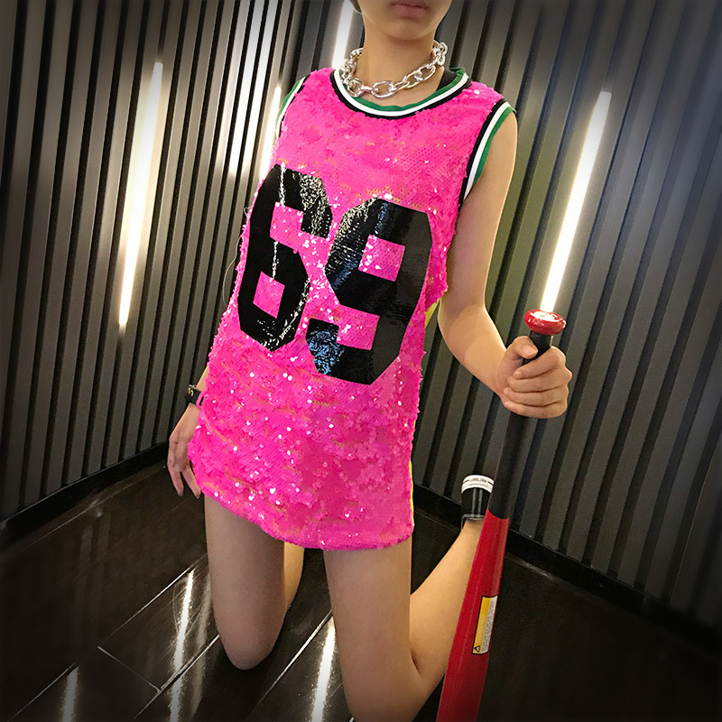 2019 New Fashion Girl Sequins Dance Wear Easy T-shirt Women Sexy Stage Costumes Hip Hop Costume Cheerleading Clothing Dufugold