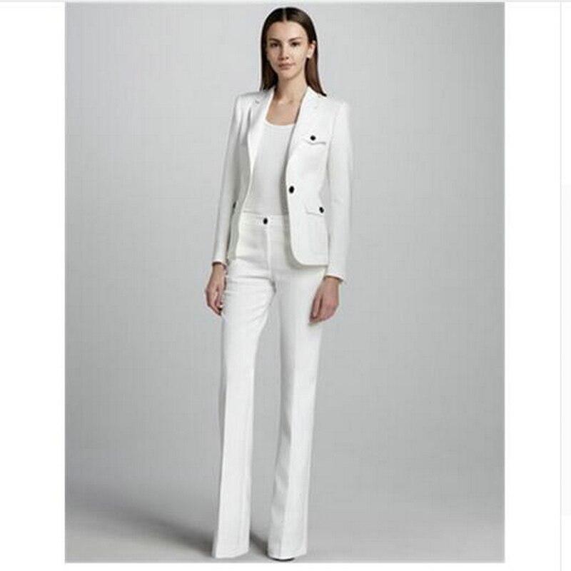 White One Button Womens Business Work Suits Female Office Uniform Wedding Tuxedo Ladies Formal Trouser Suits 2 Piece Sets Blazer