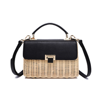 High end handmade women's bag rattan weaving Genuine leather suede leather decoration fashion messenger bag, rattan bag woodlen