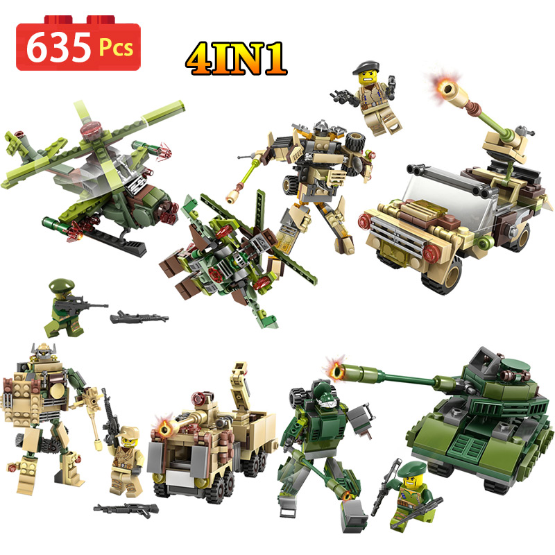 4-in-1 Future Armored Team Tanks Aircraft Model Compatible Legoed mini action figures Building Blocks set Toys for children 4 in 1 ninjagoe action figures carousel model building blocks compatible legoed city ninja diy bricks toys for children gifts