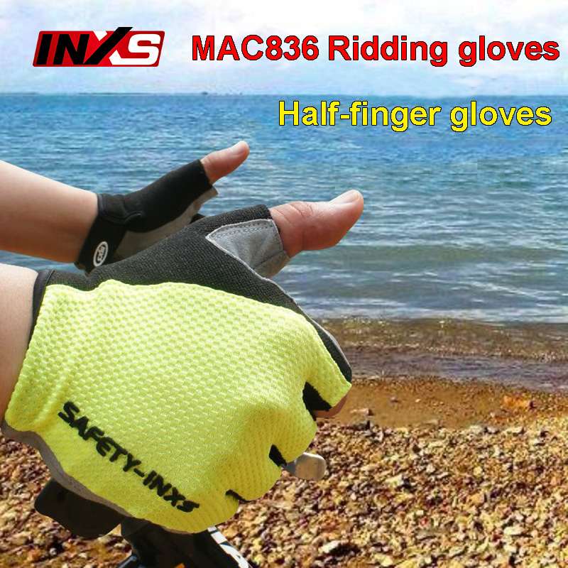 SAFETY-INXS Ridding gloves MAC836 high quality Riding half finger gloves Solid anti-slip Breathable comfort safety gloves professional love heart style anti slip breathable half finger riding gloves red size m