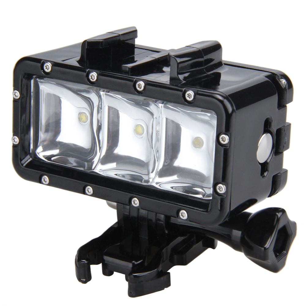 2 Packs 30M Waterproof LED Driving lamp video light for GoPro Hero 4 3+ 3 Sports Camera Black pannovo waterproof pu leather extra thick anti shock eva case for gopro hero 4 3 3 2 sj4000