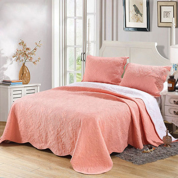 Orange Bedspread For Bed Quilts Set 3pcs Solid Embroidered Cotton Coverlet Quilted Bed Cover King Queen Size Summer Blanket