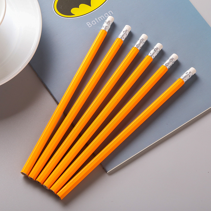 Yellow Wooden Pencils HB Pencil With Eraser Head School Student Stationery Kids Writing Painting Pencil writing