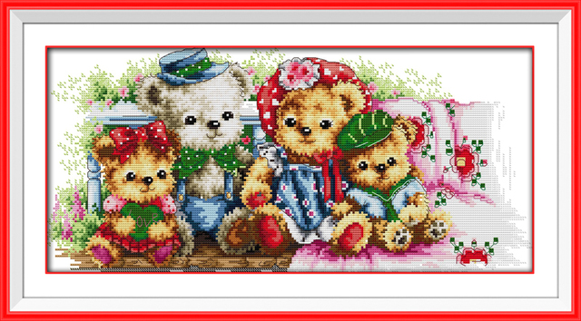 Teddy Bear Family Patterns Counted Cross Stitch 11ct 14ct Cross