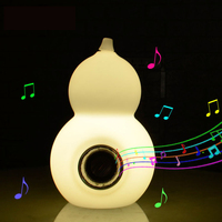 High quality gourd LED night lights rechargeable bluetooth radio table lamp RGB outdoor waterproof light with remote control