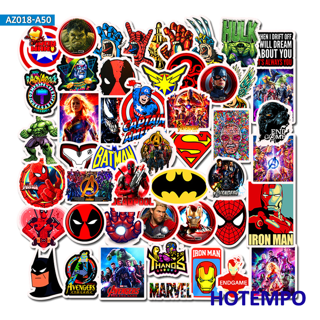 Super Hero Cartoon Comic Anime Stickers Pack Movies Character Men For Mobile Phone Laptop Luggage Skateboard Car Decal Stickers