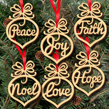 6pcs/Set Hollow Letters Natural Wood Christmas Ornaments Hanging Christmas Tree Decorations Merry Christmas Gift Xmas Tree Decor