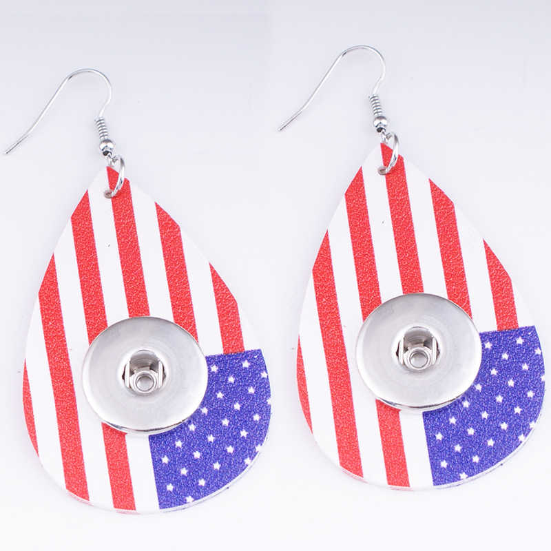 FH1963 Amerika Serikat Olahraga Bendera Air Drop PU Kulit 18 Mm Snap Tombol Kalung Anting-Anting