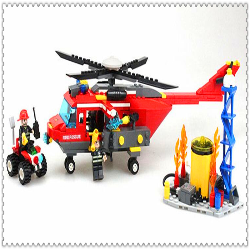 GUDI 9214 374Pcs City Fire Rescue Helicopter Building Block DIY Educational  Toys For Children Compatible Legoe jie star fire ladder truck 3 kinds deformations city fire series building block toys for children diy assembled block toy 22024