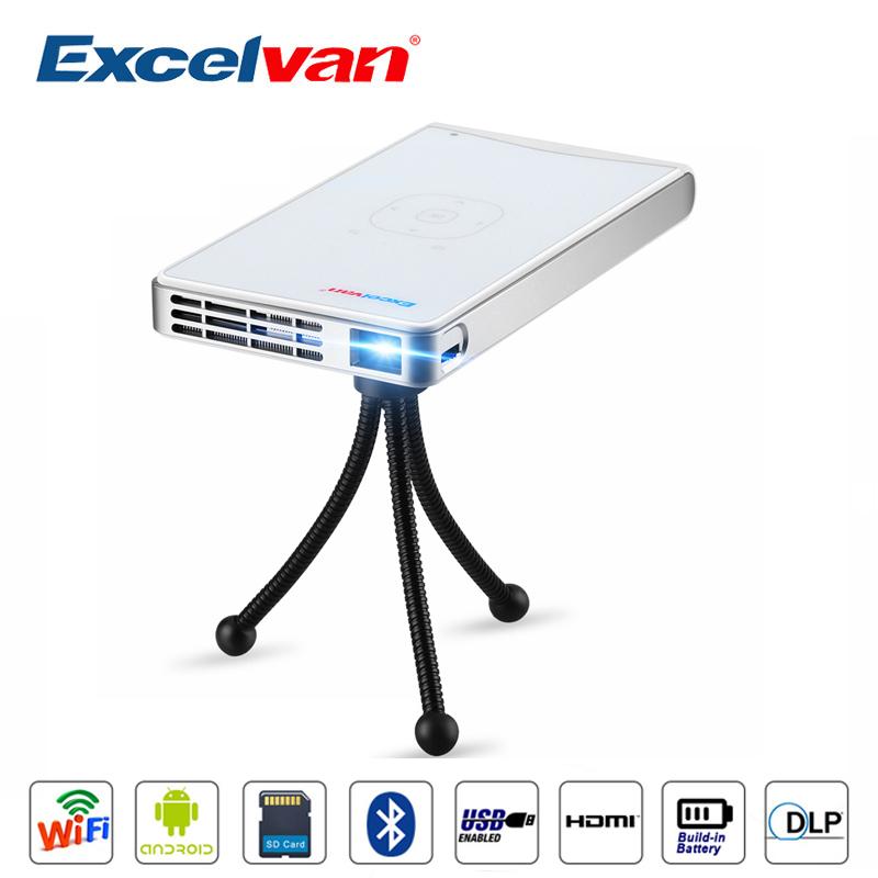 Prix pour Excelvan DLP100WM Mini Portable Android 4.4 Home Cinéma Beamer 854*480 60 Ansi Lumens Proyector Avec AV/HDMI/USB/VGA/SD carte/TV