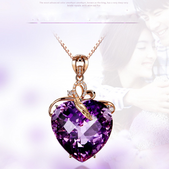 Women Necklace Pendant High Quality Heart Shape Amethyst Pendant Rose Gold Necklace Jewelry Charm Wedding Party Fine Jewelry 3